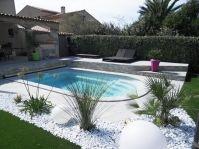 Aménagement Zen piscine coque -  - piscine coque polyester