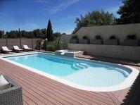 Grande piscine coque avec plage -  - piscine coque polyester
